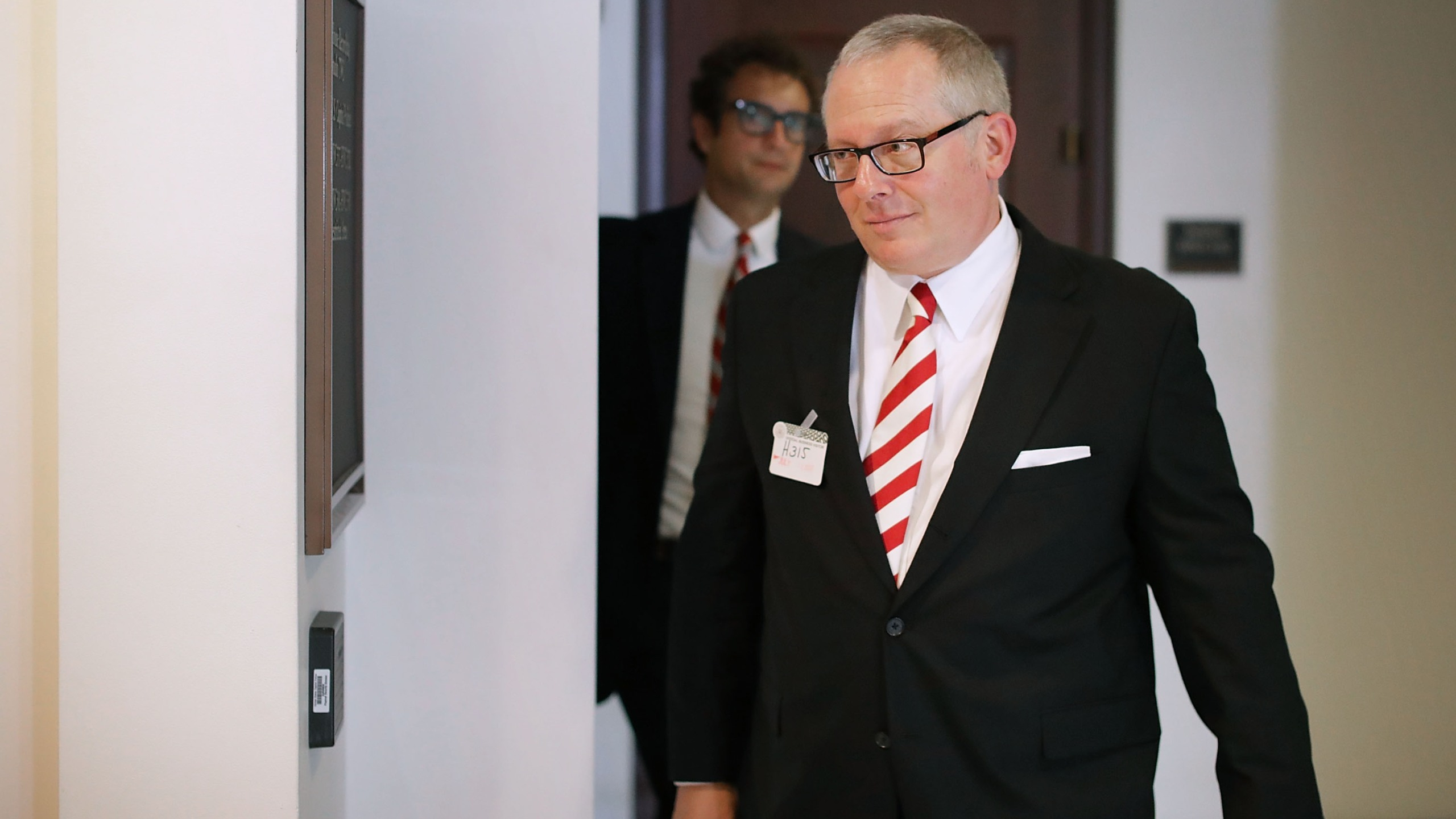 Former Trump campaign aide Michael Caputo arrives to testify before the House Intelligence Committee during a closed-door session at the U.S. Capitol on July 14, 2017. (Chip Somodevilla/Getty Images)