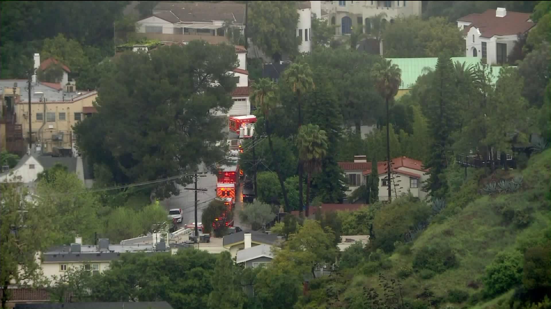Fire crews respond to a debris flow in the Hollywood Hills on April 6, 2020. (KTLA)