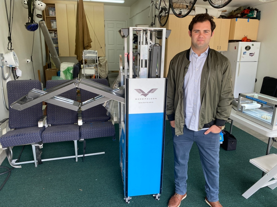 Dimer Co-Founder Elliot Kreitenberg with the Germ Falcon