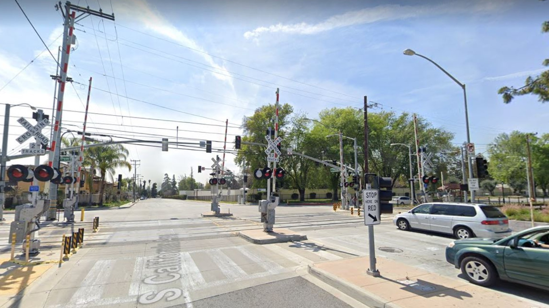 A set of train tracks alongside the intersection of California Avenue and Duarte Road in Monrovia, as pictured in a Google Street View image.