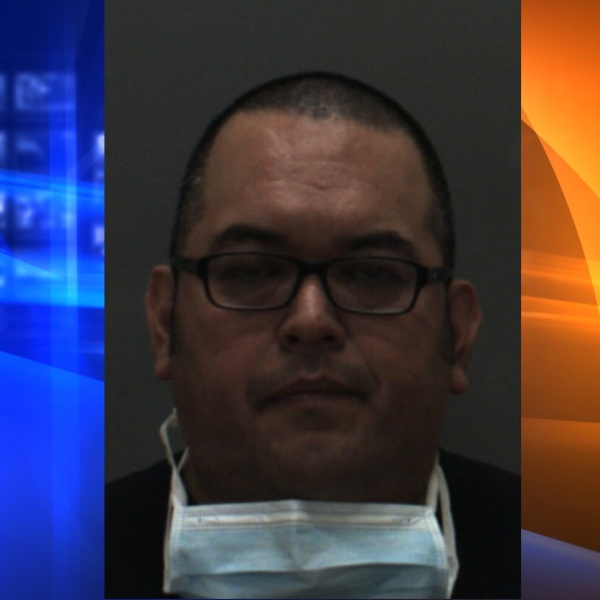 Steven Victor Pilar. 43, of Victorville, pictured in a photo released by the San Bernardino County Sheriff's Department following his arrest on April 22, 2020.
