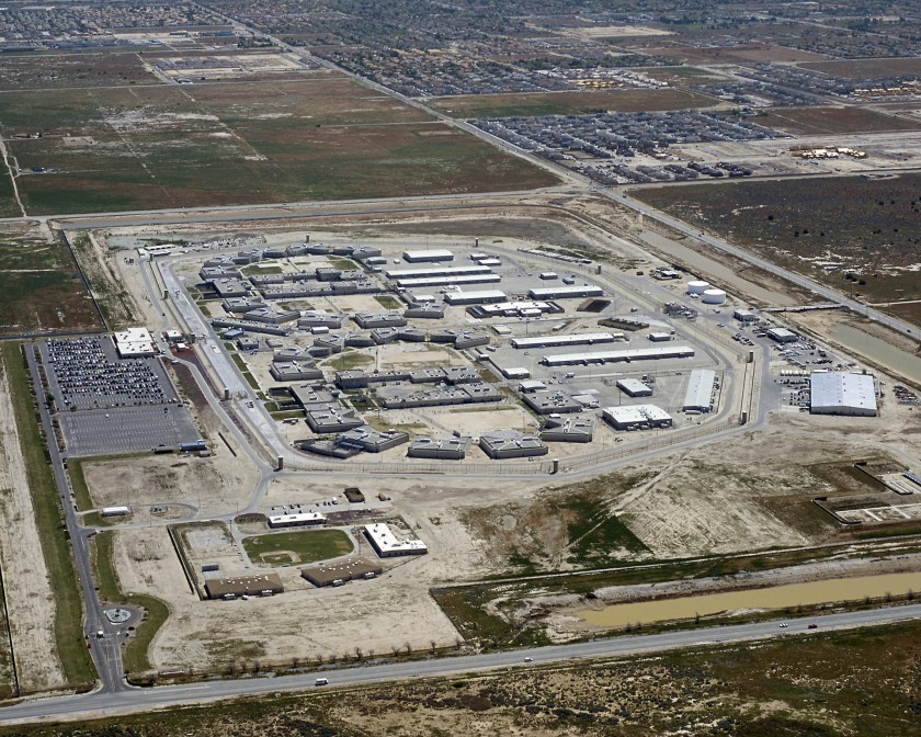 California State Prison in Lancaster, where eight inmates are ill with COVID-19. (California Department of Corrections and Rehabilitation via the Los Angeles Times)