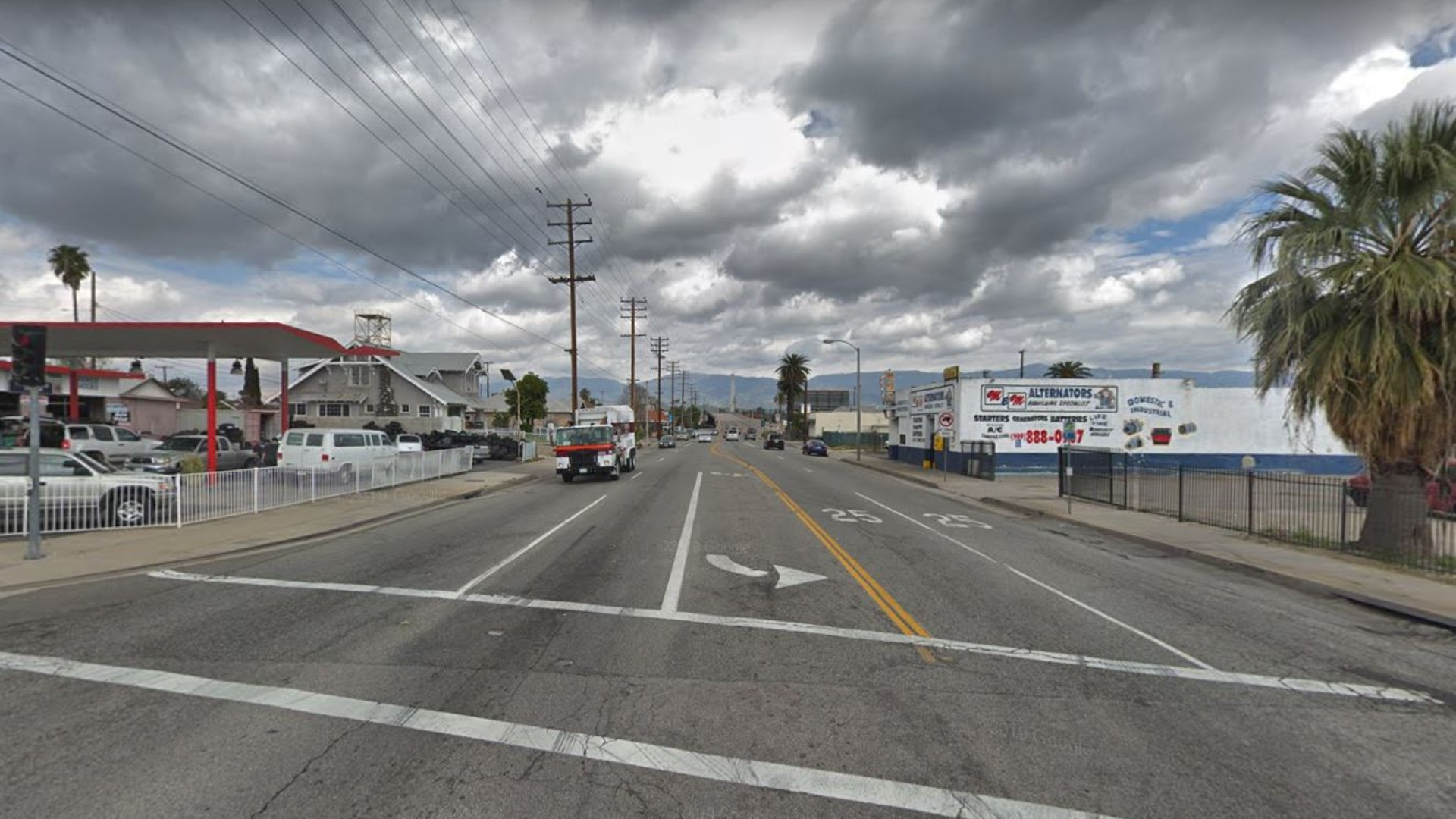 Mt. Vernon Avenue, looking north from Rialto Avenue, as pictured in a Google Street View image.
