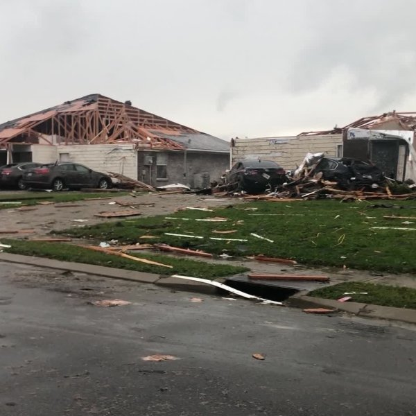 Homes are destroyed after a tornado rips through Monroe, Louisiana, on Sunday. ( gift_of_fofo/Twitter via CNN)
