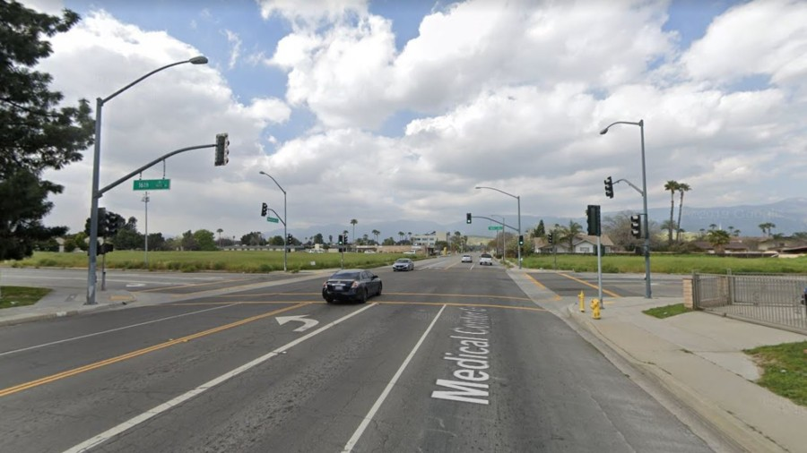 The intersection of 16th Street and Medical Center Drive in San Bernardino, as viewed in a Google Street View image.