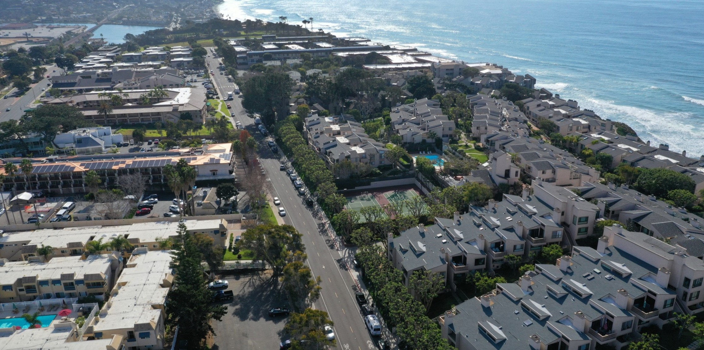 An aerial view of the site of a proposed affordable housing project near million-dollar condos in Solana Beach in San Diego County. It's a 10-unit project that has been in the works for the last decade and has yet to break ground.(Allen J. Schaben / Los Angeles Times)