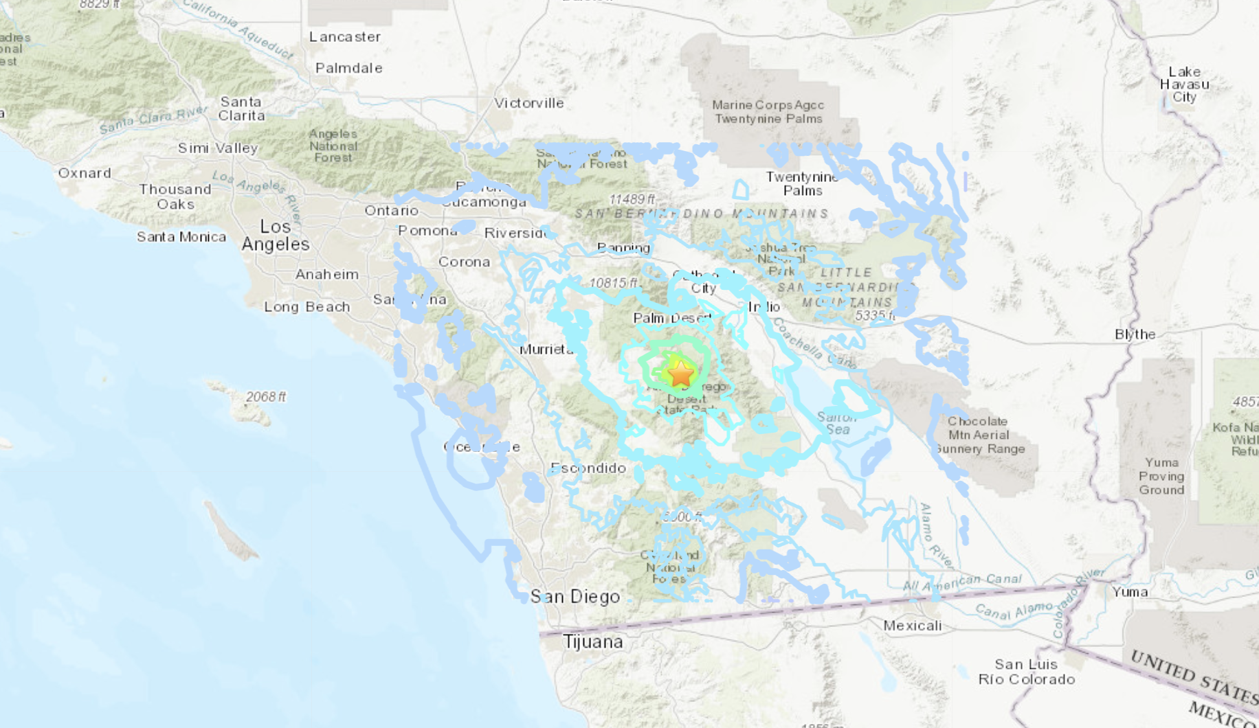 The location of a magnitude 4.9 earthquake that struck near Anza on April 3, 2020. (USGS)