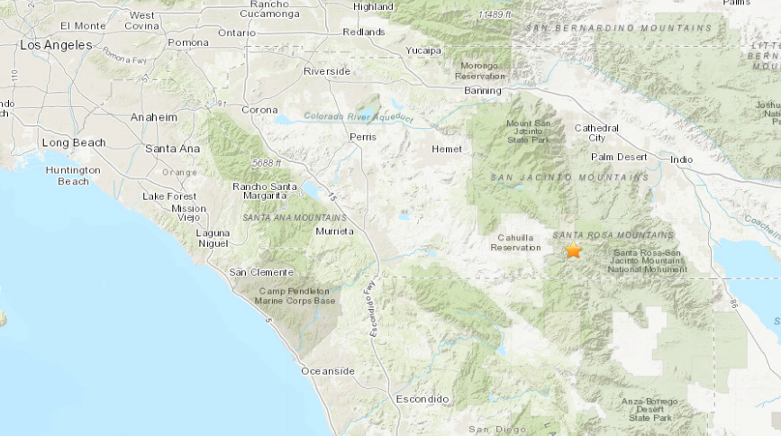 The location of a quake that struck near Anza on April 5, 2020. (USGS)