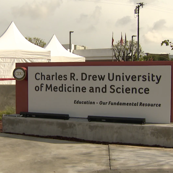 A COVID-19 testing site opened at the Charles R. Drew University of Medicine and Science in Willowbrook on April 8, 2020. (KTLA)
