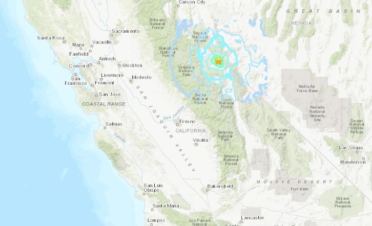 A U.S. Geological Survey map show where a magnitude 5.3 earthquake hit near the California-Nevada border on April 11, 2020.