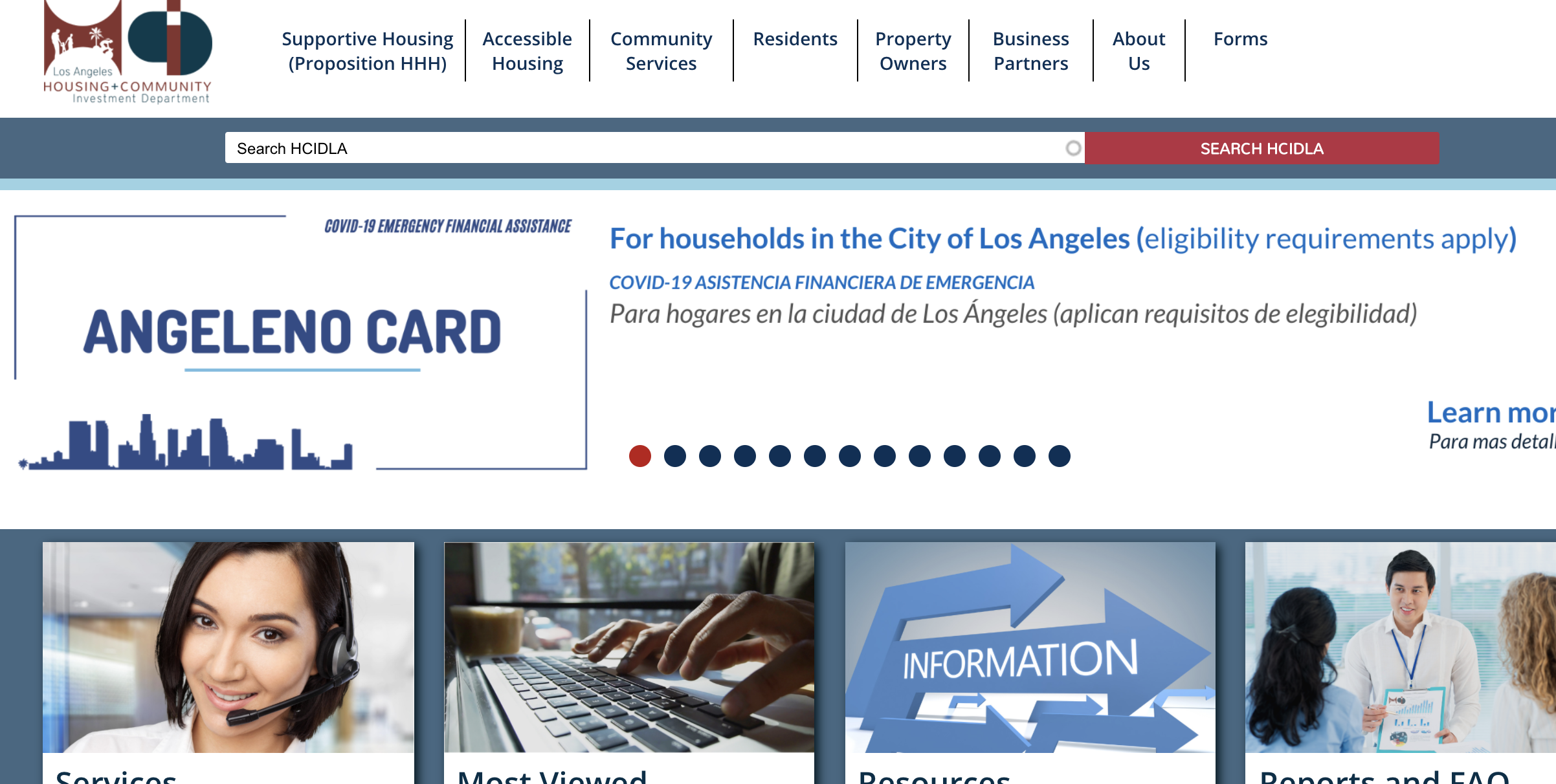 The L.A. city website page featuring the new Angeleno Card, which helps families struggling financially due to COVID-19, appears on April 16, 2020.