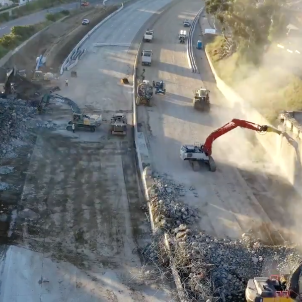 A Caltrans District 7 drone shot from April 26, 2020, shows cleanup of the 5 Freeway after the Burbank Boulevard overpass was demolished.
