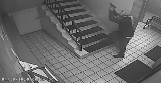 A screengrab of a video shared by LAPD on April 27, 2020 shows a man allegedly shooting at an occupied apartment in Palms earlier in the month.