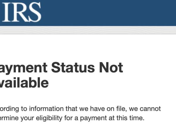 "A page on the IRS website in April 2020 reads ""Payment Status Not Available."""