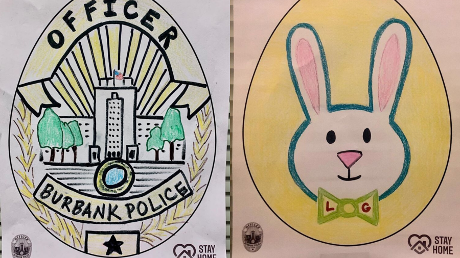 """Burbank police released these examples of artwork to promote a """"stay-at-home Easter egg hunt"""" on April 12, 2020."""