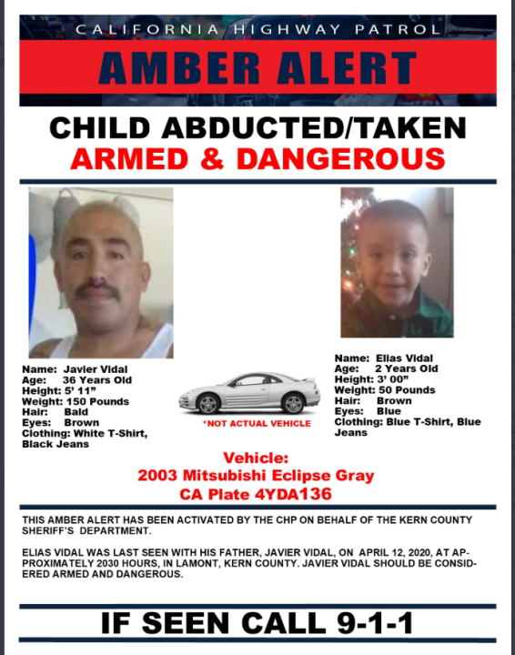 The California Highway Patrol tweeted this Amber Alert  posted on April 12, 2020.