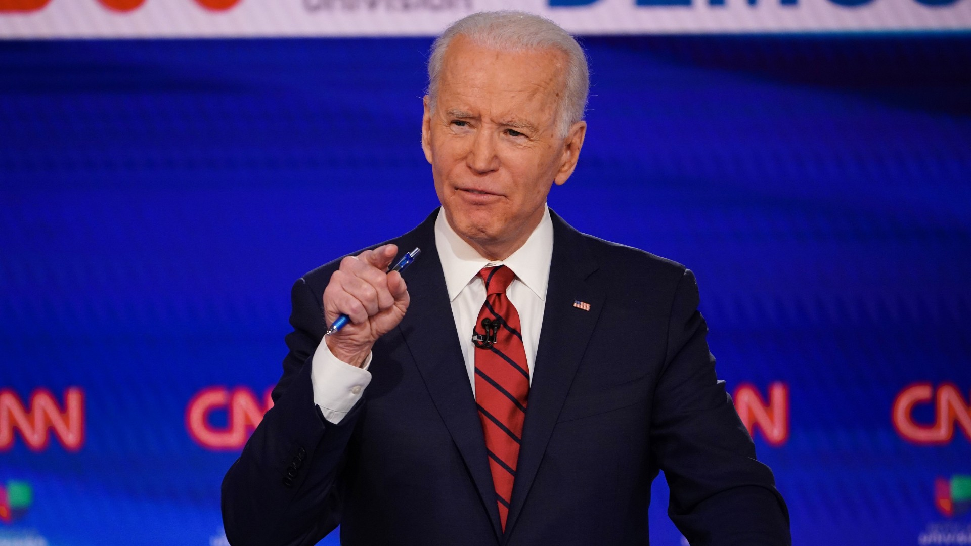 Democratic presidential hopeful former US vice president Joe Biden participates in the 11th Democratic Party 2020 presidential debate in a CNN Washington Bureau studio in Washington, DC on March 15, 2020. (MANDEL NGAN/AFP via Getty Images)