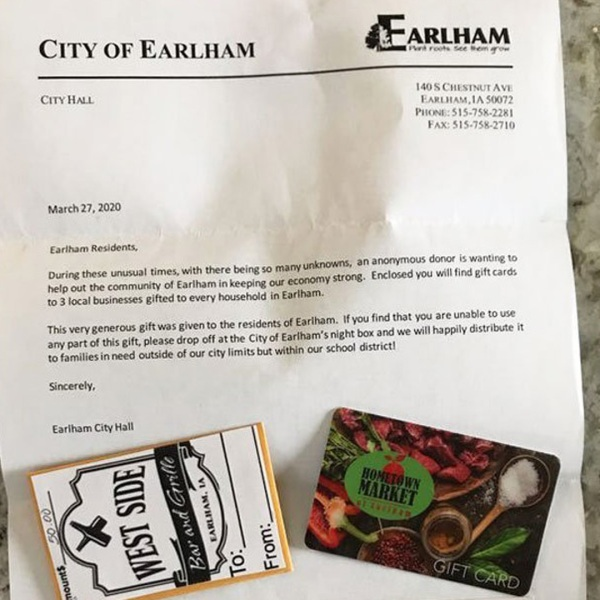 An anonymous donor gave everyone in the town of Earlham $150 worth of gift cards for food in March amid the coronavirus pandemic. (Jeff Little)