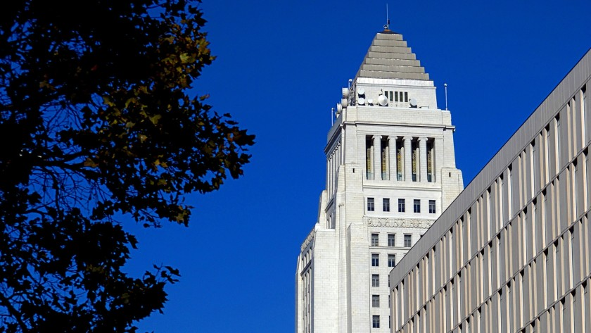 L.A. City Hall is seen in an undated photo. (Richard Derk/Los Angeles Times)