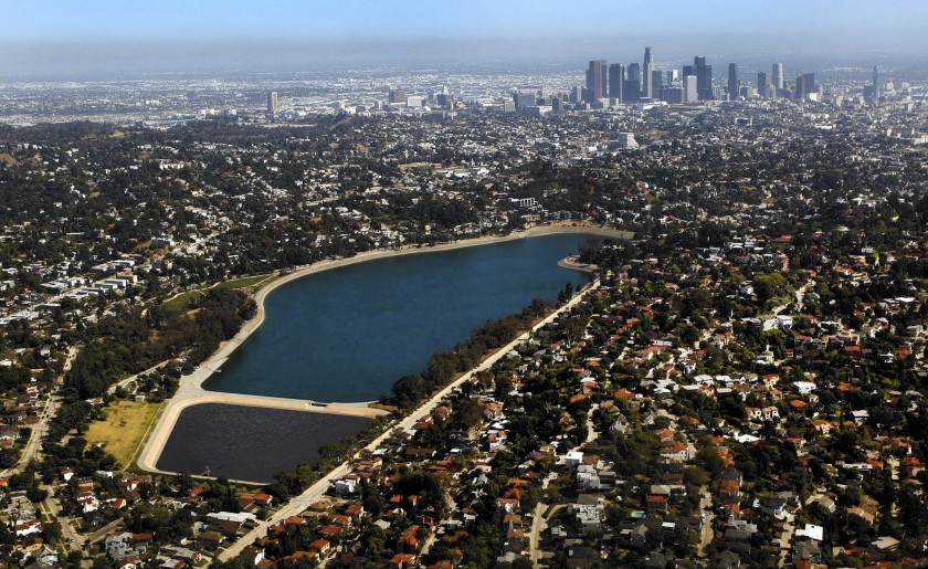 The Silver Lake Reservoir is seen in an undated photo. (Al Seib / Los Angeles Times)