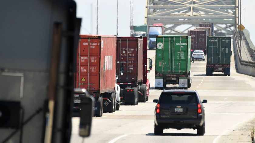 Trucks are seen in this undated photo. (Wally Skalij / Los Angeles Times)