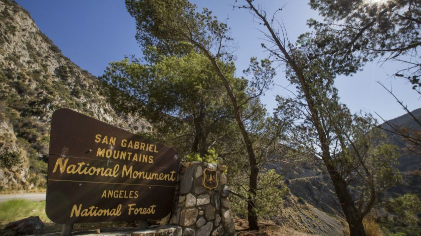A sign is posted at the entrance to the San Gabriel Mountains National Monument near Azusa.(Allen J. Schaben / Los Angeles Times)