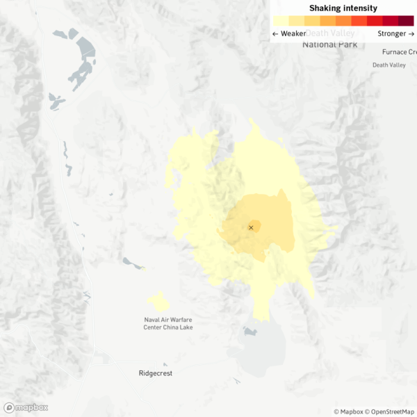 A map shows where a magnitude 3.5 earthquake was felt near Ridgecrest on April 18, 2020. It was followed by a magnitude 3.3 quake minutes later. (Quakebot/Los Angeles Times)