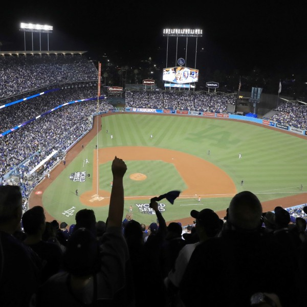 A general view during the third inning of game seven of the 2017 World Series between the Houston Astros and the Los Angeles Dodgers at Dodger Stadium on November 1, 2017 in Los Angeles. (Sean M. Haffey/Getty Images)