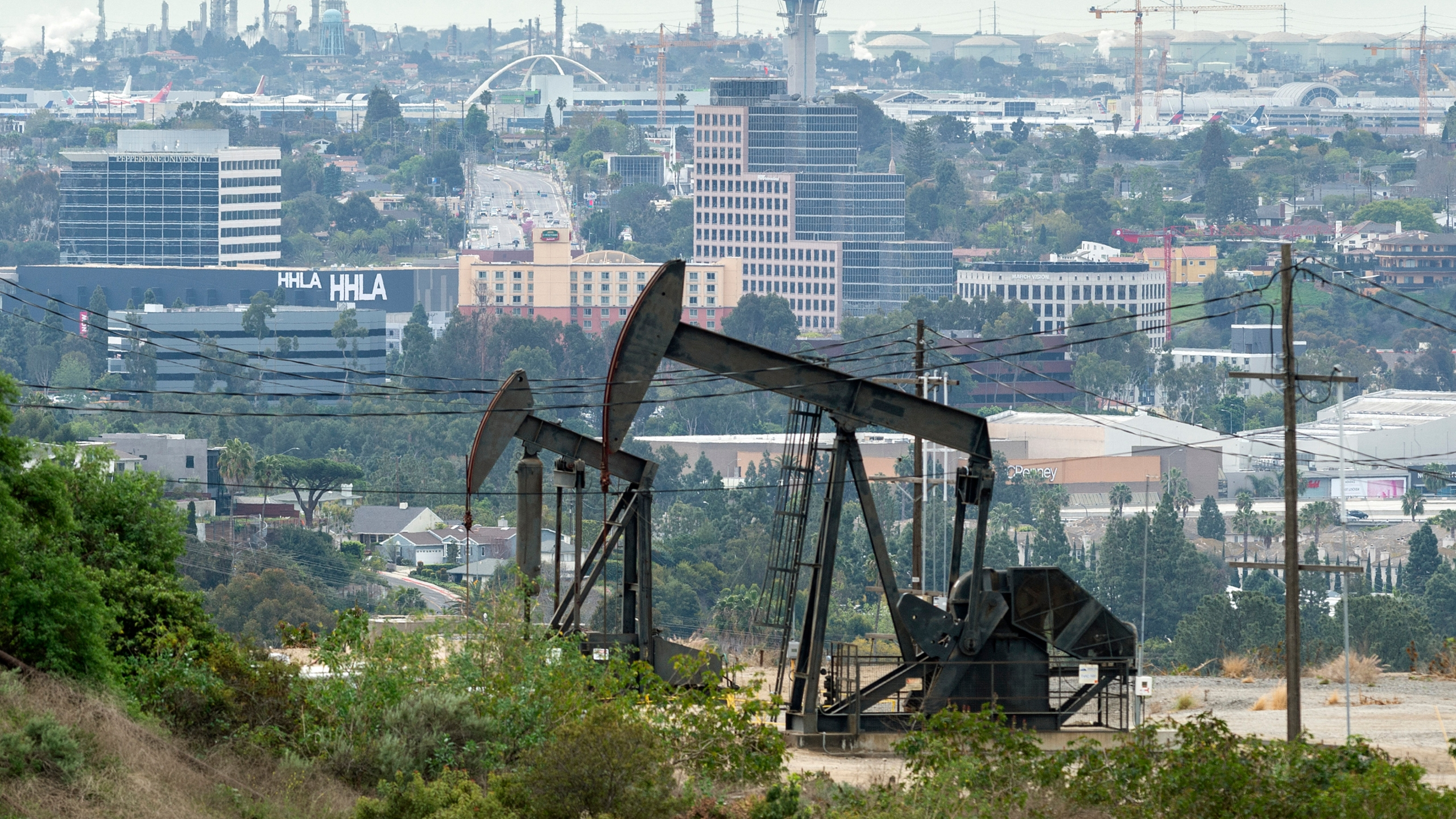 The Inglewood Oil Field on March 9, 2020 in Los Angeles. (Lionel Hahn/Abaca/Sipa USA via AP Images/CNN)