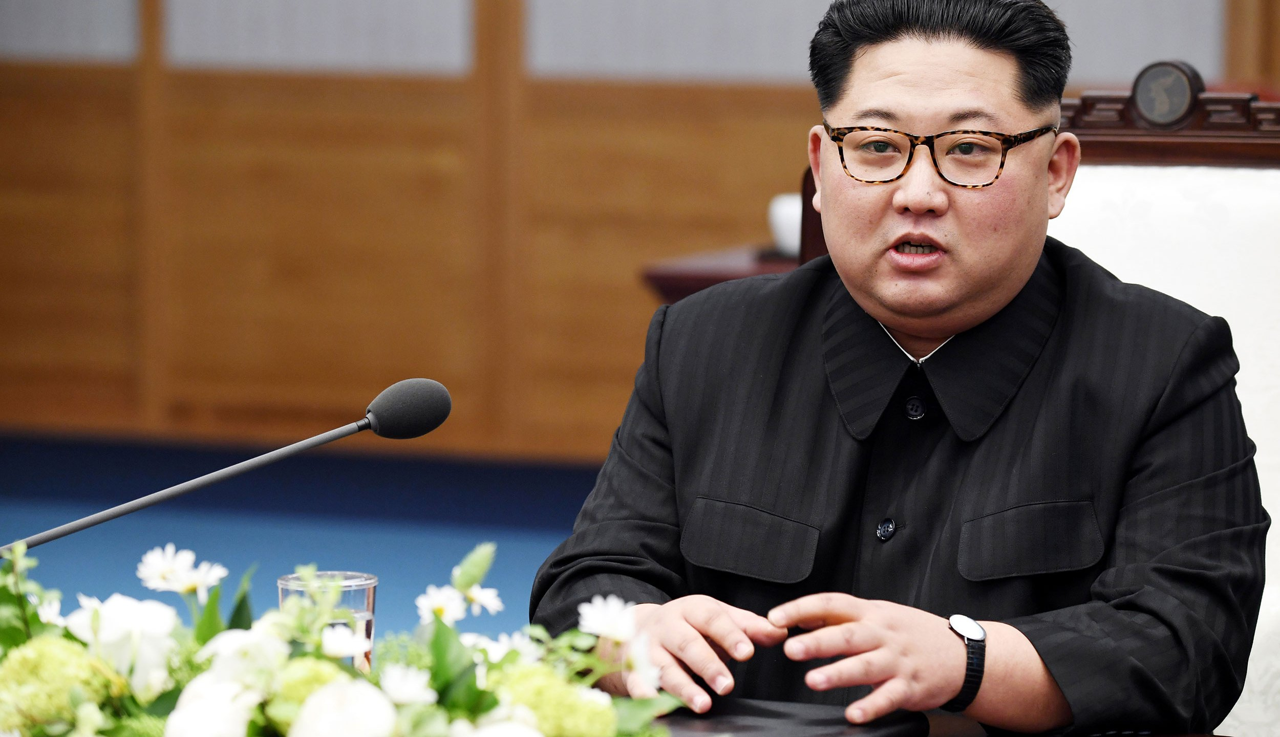 North Korean Leader Kim Jong Un speaks during the Inter-Korean Summit at the Peace House on April 27, 2018 in Panmunjom, South Korea. Kim and Moon meet at the border today for the third-ever inter-Korean summit talks after the 1945 division of the peninsula, and first since 2007 between then President Roh Moo-hyun of South Korea and Leader Kim Jong-il of North Korea. (Korea Summit Press Pool/Getty Images)