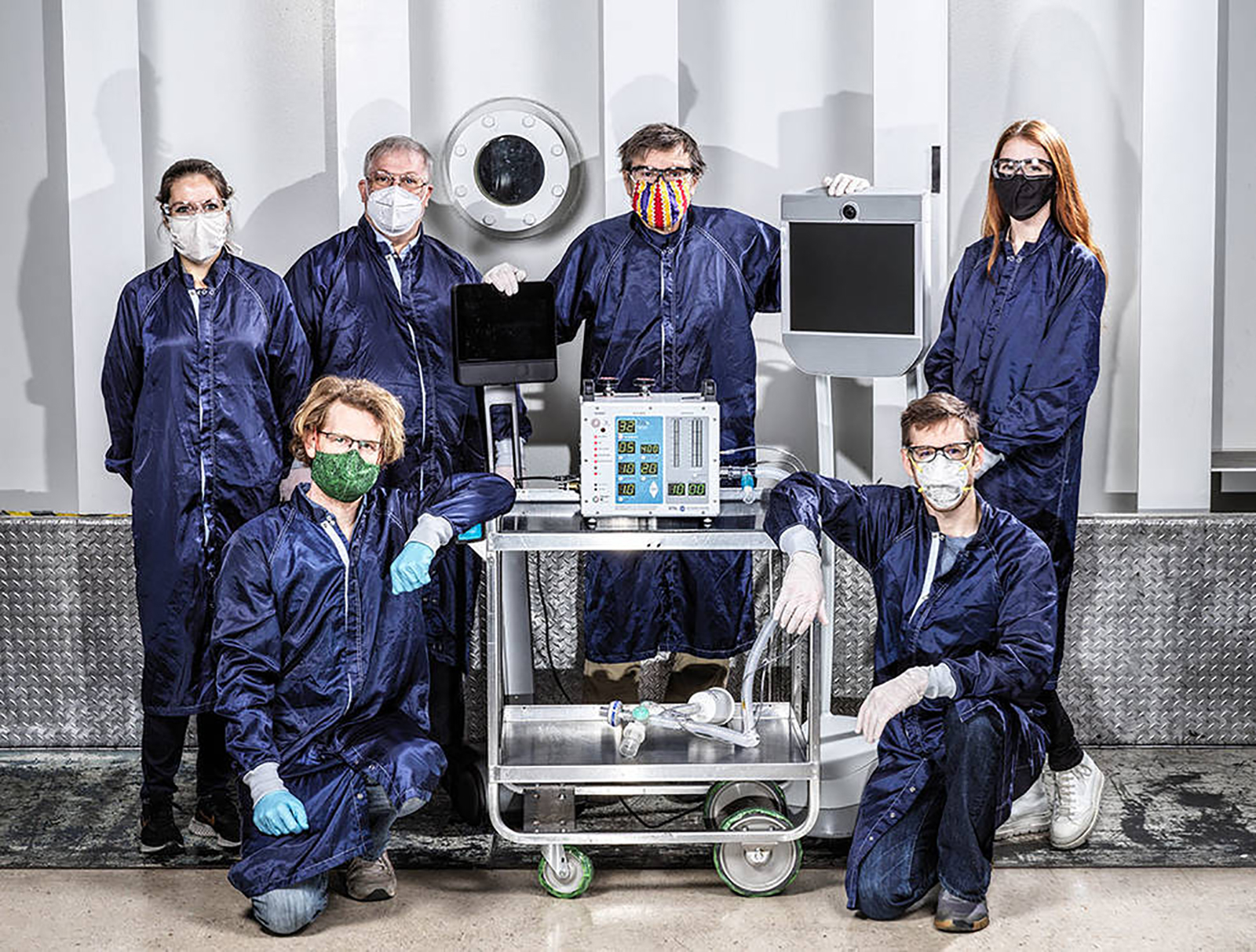 Pictured are engineers at NASA's Jet Propulsion Laboratory in Pasadena, who created a ventilator prototype designed to help coronavirus patients. (Dan Goods/NASA/JPL-Caltech)