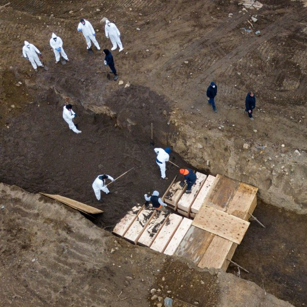 Drone pictures show bodies being buried on New York's Hart Island where the department of corrections is dealing with more burials overall, amid the coronavirus disease (C