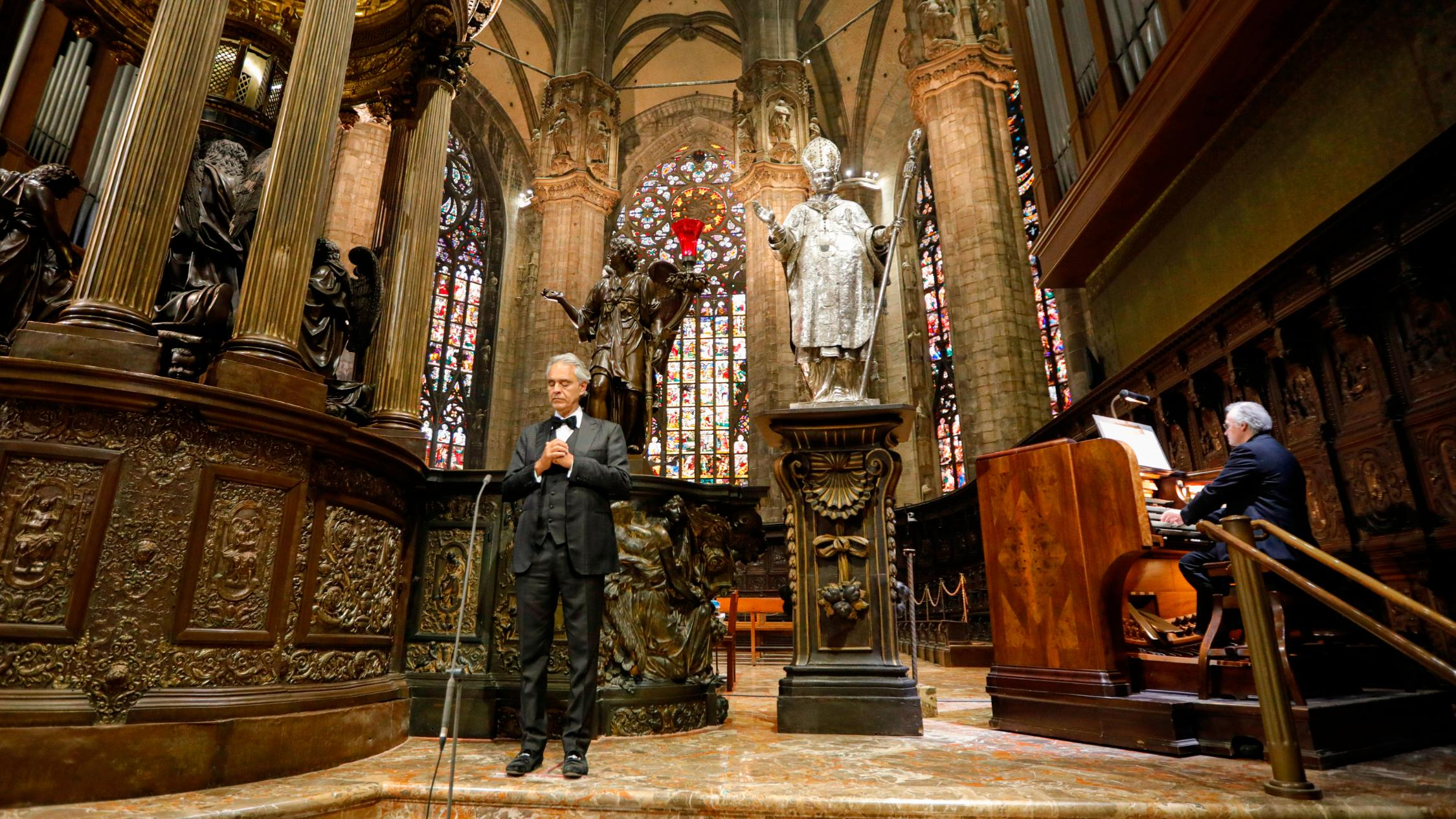 The cathedral is closed to the public because of the coronavirus pandemic. (Luca Rossetti/Sugar Srl, Decca Records/AP)
