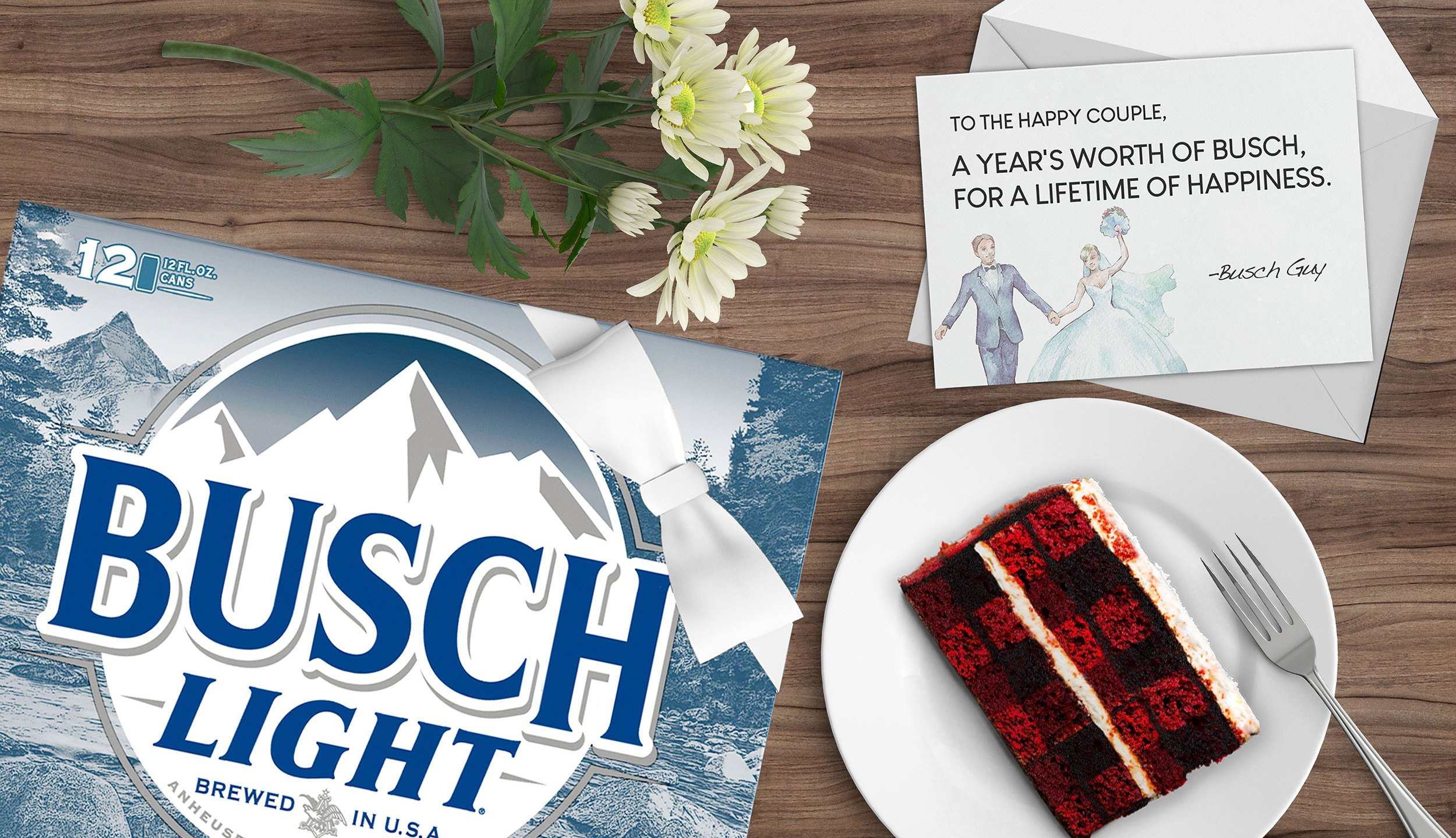 A photo shared by Busch Beer in announcing its offer to give couples a year's supply of free beer.