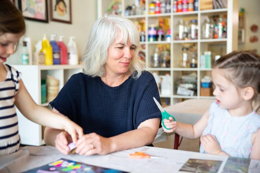 Samara Caughey, the owner, Purple Twig, a children's art studio, is shown. (CNN via Samara Caughey)