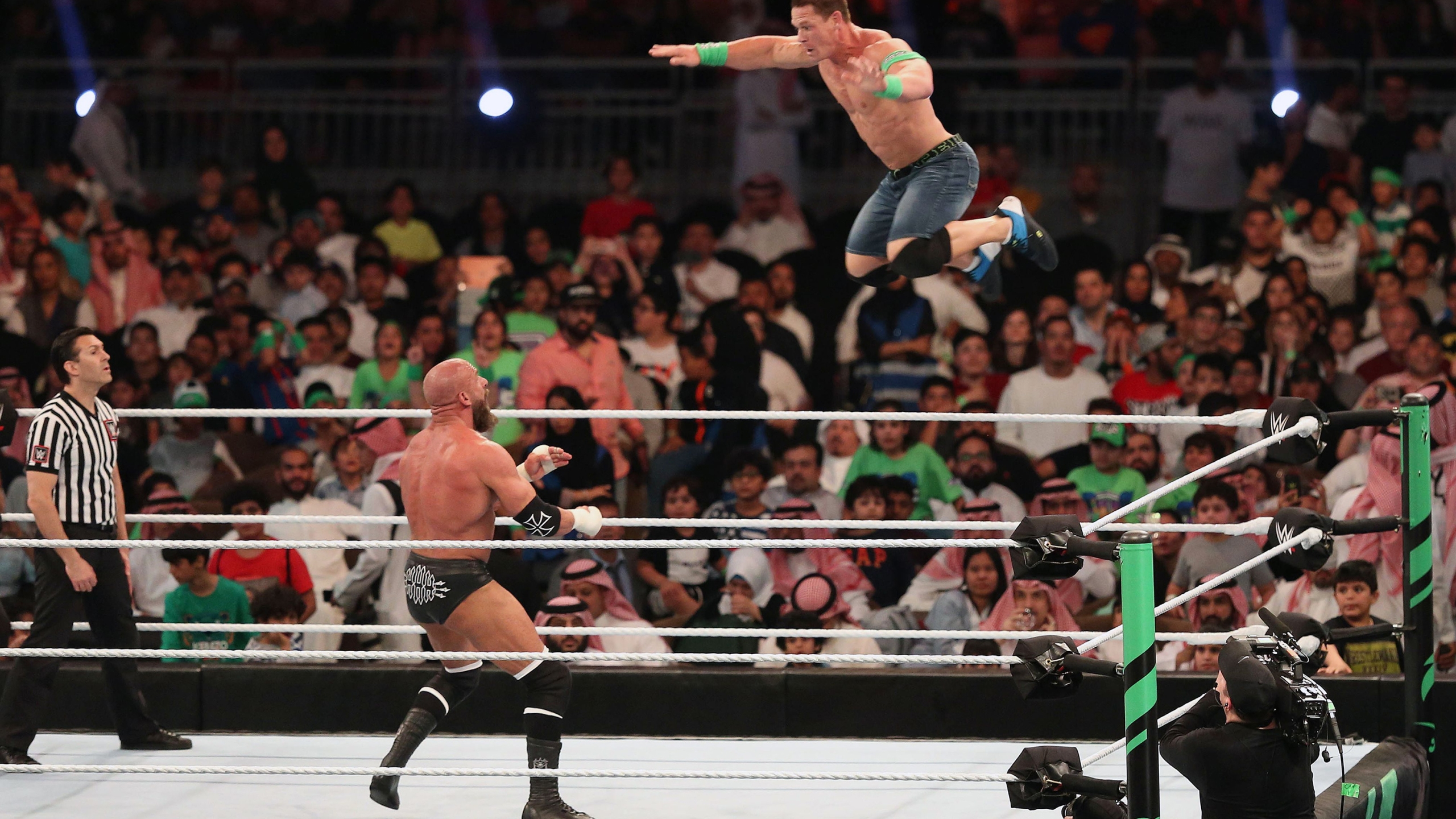 World Wrestling Entertainment resumed live televised shows on Monday after weeks of taped matches, including their biggest event of the year, WrestleMania. (Stringer/AFP/Getty Images via CNN Wire)