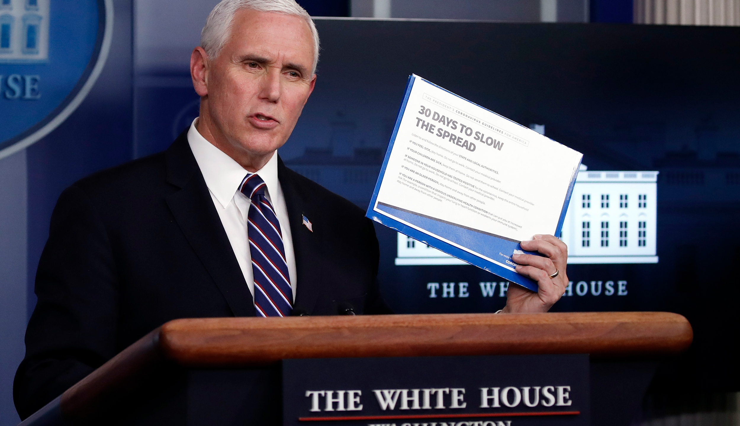 Vice President Mike Pence speaks about the coronavirus in the James Brady Press Briefing Room of the White House, Wednesday, April 8, 2020, in Washington. (AP Photo/Alex Brandon)