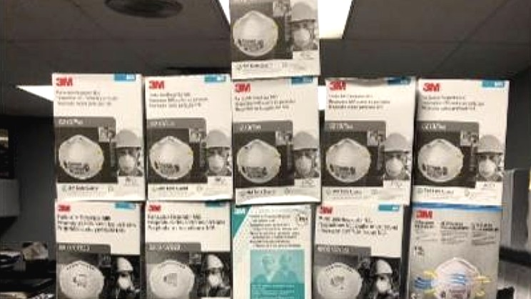 hundreds of N95 respirators were found during an arrest on April 7, 2020. (Baldwin Park Police Department)