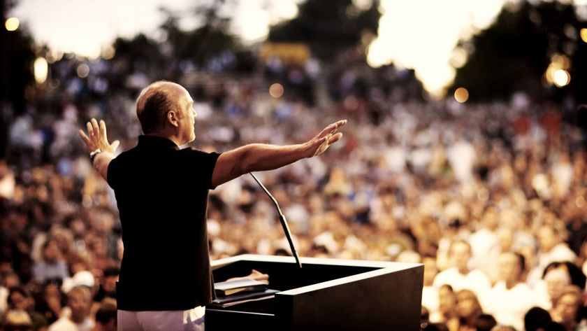 Pastor Greg Laurie is known for the annual Harvest Crusade event at Angel Stadium, shown in this undated file photo. (Daily Pilot via Los Angeles Times)