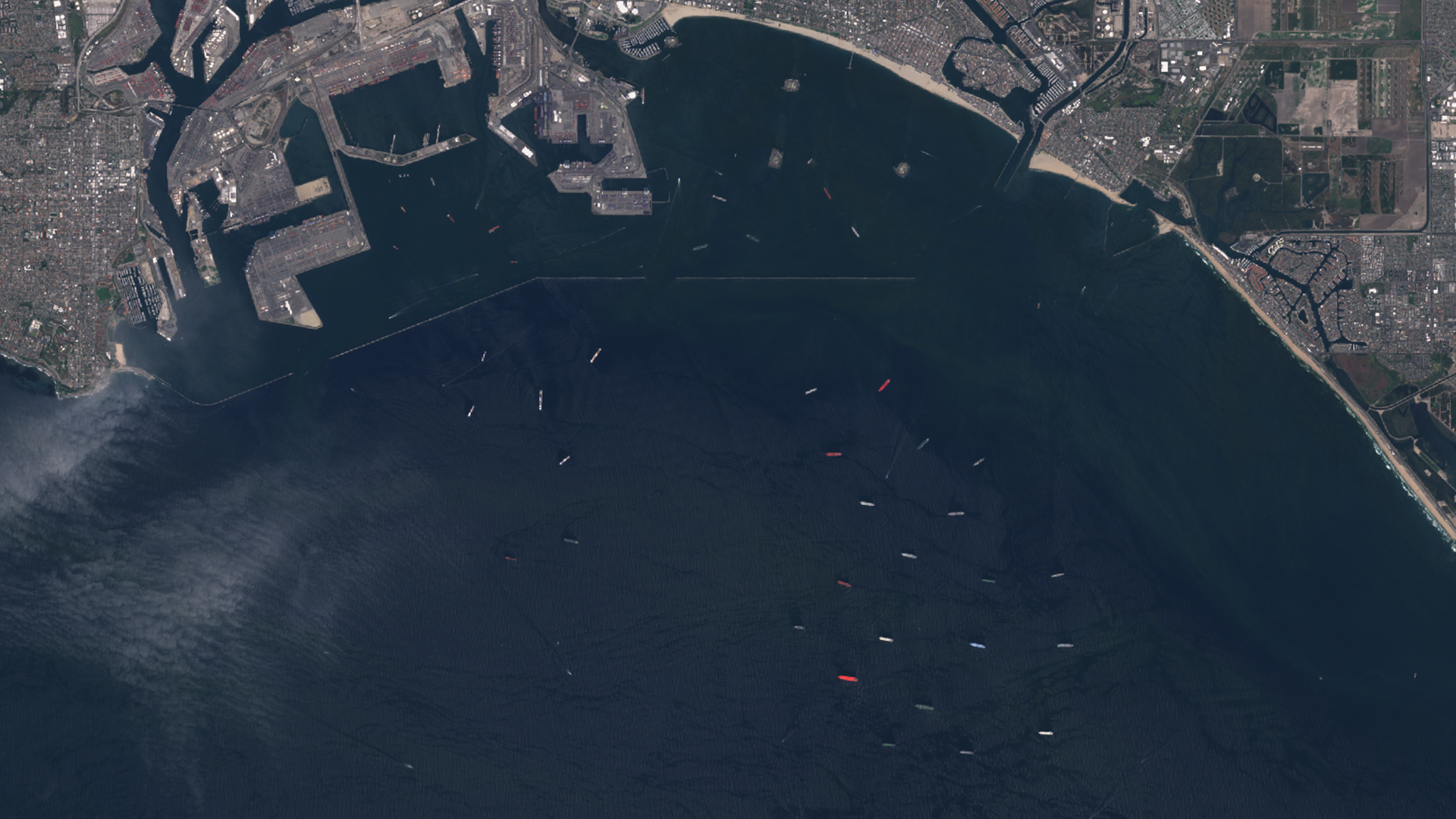 Satellite images show tankers off the coast of Port of L.A./Long Beach on April 23, 2020. (Sentinel-2/European Space Agency)