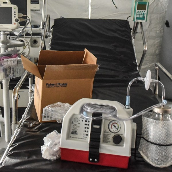 A ventilator and other hospital equipment is seen in an emergency field hospital to aid in the COVID-19 pandemic in Central Park on March 30, 2020 in New York City. (Stephanie Keith/Getty Images)