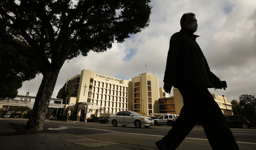 The Los Angeles Surge Hospital opened in April on the grounds of the shuttered St. Vincent Medical Center to treat COVID-19 patients. The surge facility, funded by the state, will close in June after seeing relatively few patients.(Al Seib / Los Angeles Times)