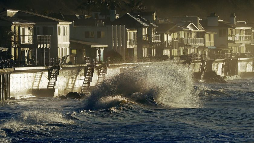 High surf near homes along Faria Beach in Ventura County is seen in an undated photo. (Al Seib / Los Angeles Times)