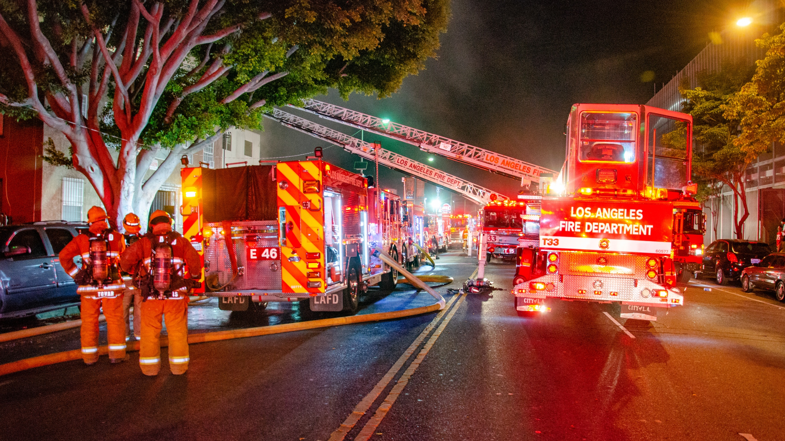 Firefighters respond to an apartment building fire in the Historic South-Central neigborhood of Los Angeles on May 16, 2020. (L.A. Fire Department)