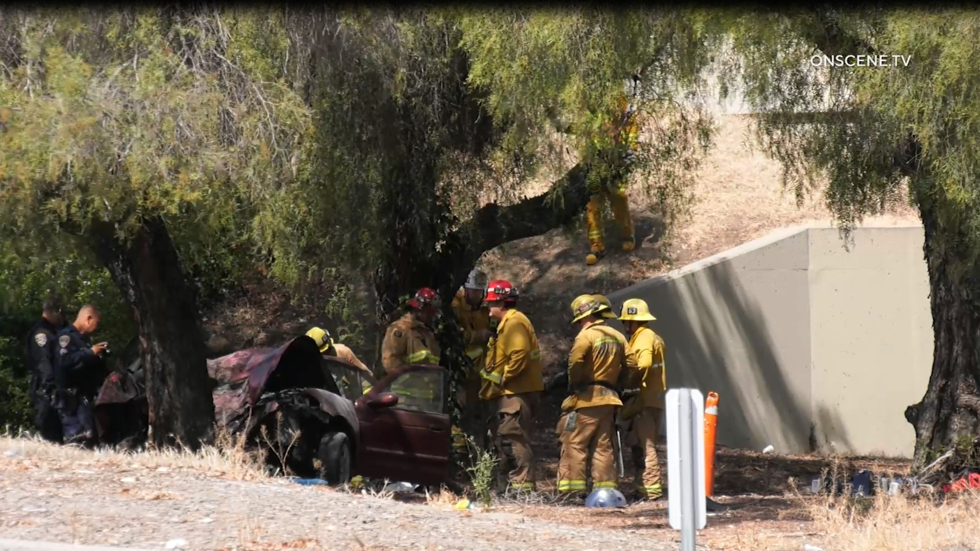 Two people died in a crash on the 5 Freeway at Paramount Blvd. in Downey on May 23, 2020. (OnScene)