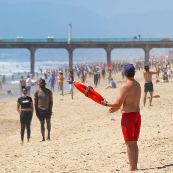 """""""It was a busy weekend at the Beach,"""" L.A. County Firefighters wrote in sharing this photo on May 18, 2020."""
