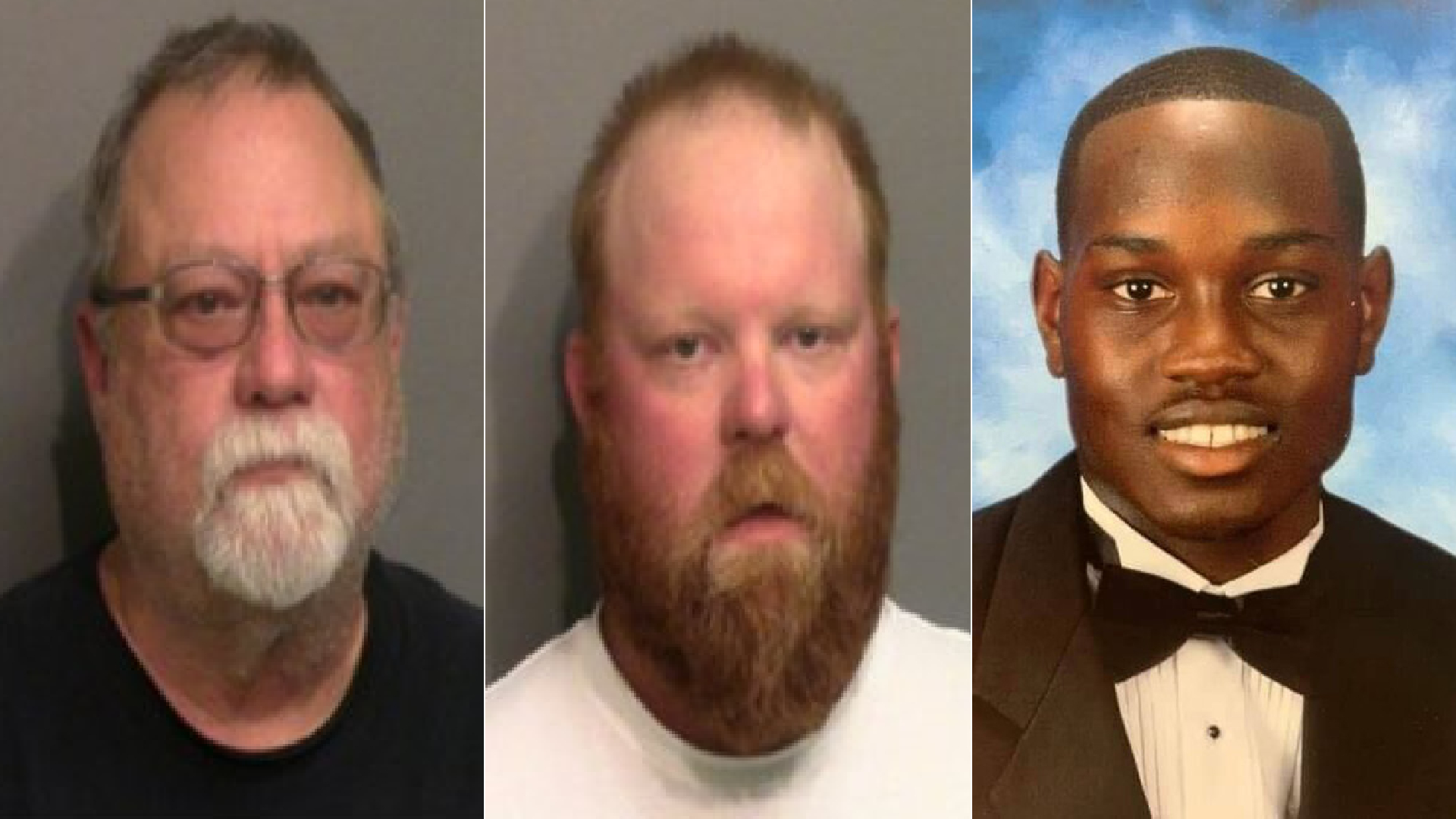 Gregory McMichael, left, and Travis McMichael, center, are seen in booking photos released May 7, 2020, by the Glynn County Sheriff's Office to WJXT and provided to CNN. Ahmaud Arbery, at right, is seen in an image posted to runwithmaud.com.