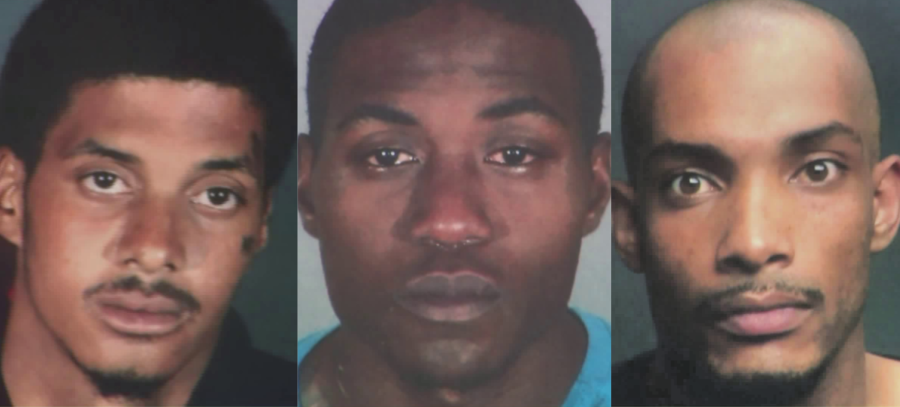 James Spencer, Darrell Robinson and Frank Adams are seen in photos displayed by the Los Angeles Police Department during a news conference to announce their arrest on May 28, 2020. (KTLA)