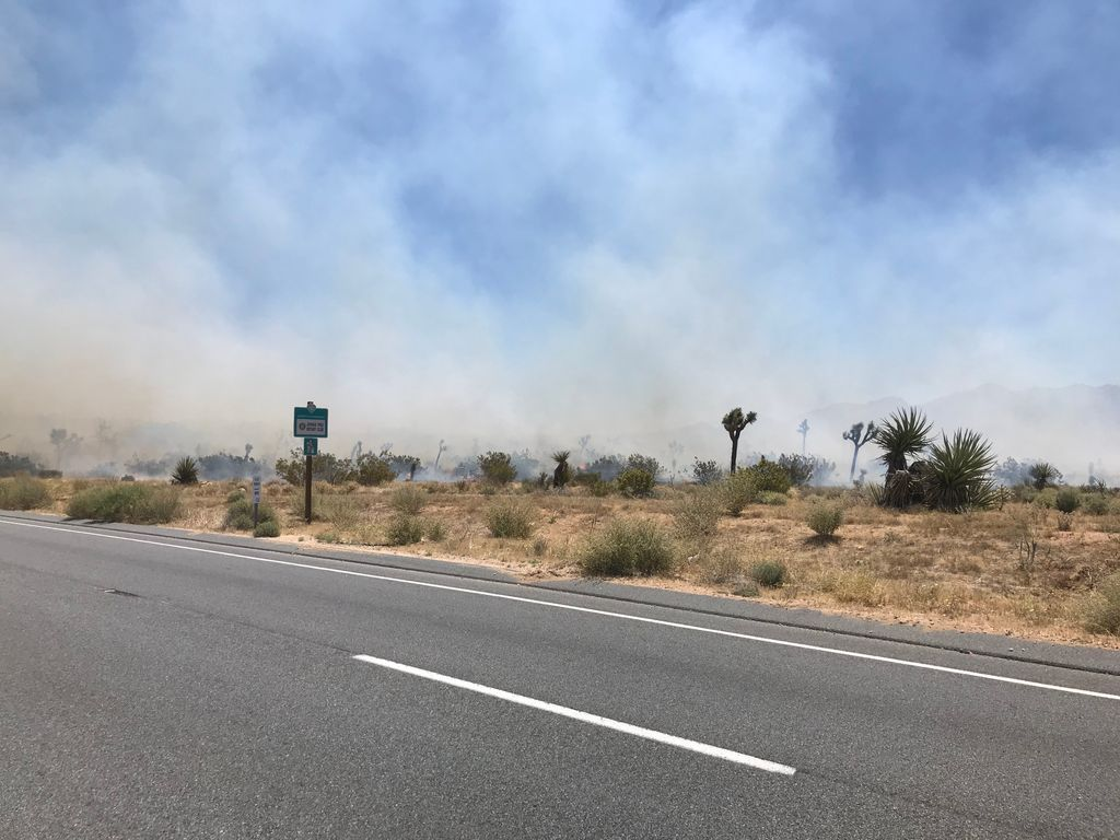 Smoke fills the air as firefighters arrive at the scene of a blaze outside Joshua Tree on May 11, 2020. (San Bernardino County Fire Department)