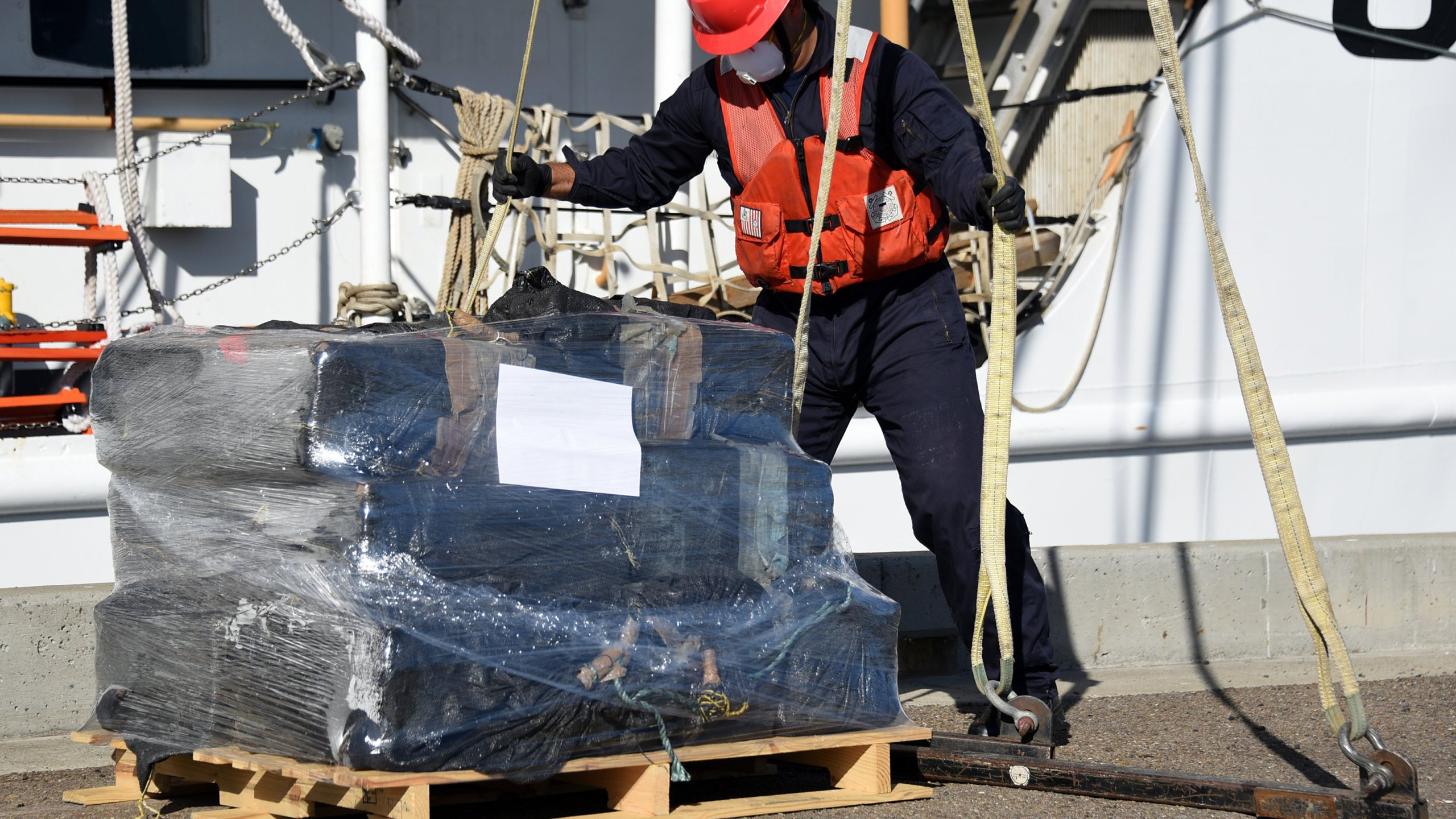 Cocaine seized in the eastern Pacific Ocean is off-loaded in San Diego on May 20, 2020. (U.S. Coast Guard)